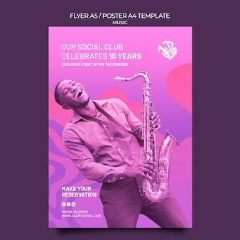 Modelo de pôster vertical para festival e clube de jazz
