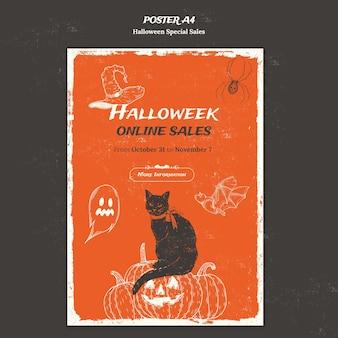Modelo de pôster vertical para halloweek