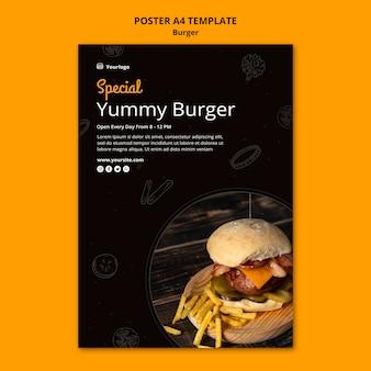 Modelo de pôster vertical para hambúrguer bistrô