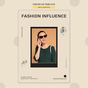 Modelo de pôster vertical para influenciador de moda nas redes sociais