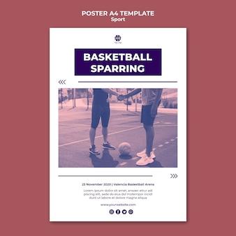 Modelo de pôster vertical para jogar basquete