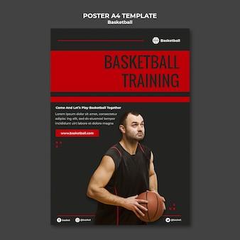 Modelo de pôster vertical para jogo de basquete com jogador masculino