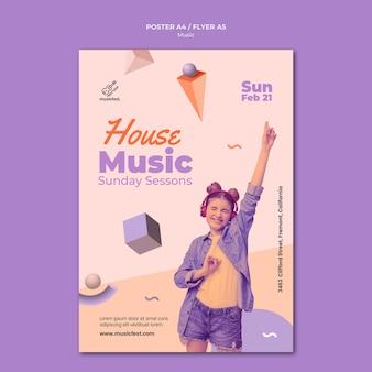 Modelo de pôster vertical para música com mulher usando fones de ouvido e dançando