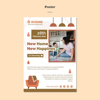 Modelo de pôster vertical para nova casa de família