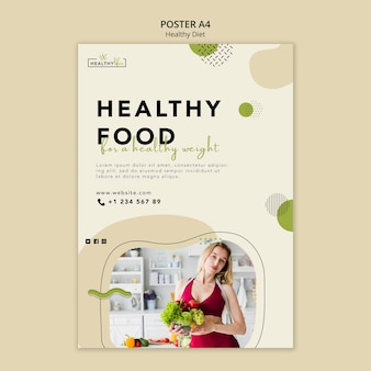 Modelo de pôster vertical para nutrição saudável