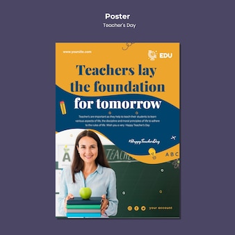 Modelo de pôster vertical para o dia do professor