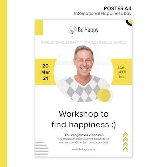 Modelo de pôster vertical para o dia internacional da felicidade