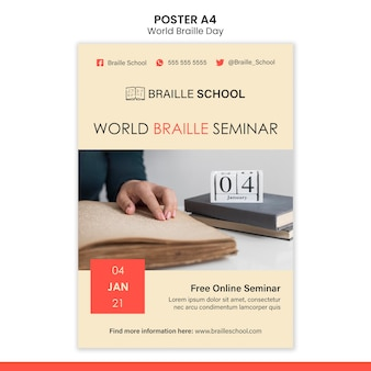 Modelo de pôster vertical para o dia mundial do braille