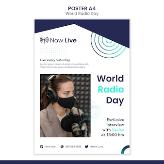 Modelo de pôster vertical para o dia mundial do rádio