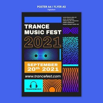 Modelo de pôster vertical para o festival de música trance de 2021