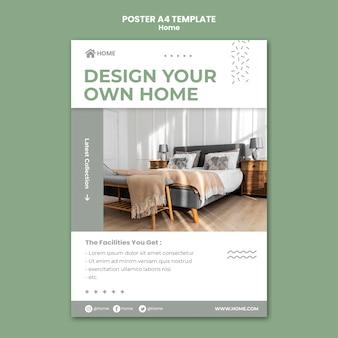 Modelo de pôster vertical para o novo design de interiores de casa