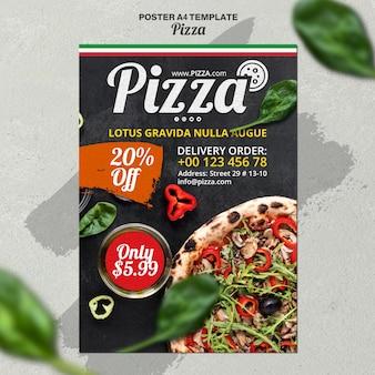 Modelo de pôster vertical para pizzaria italiana