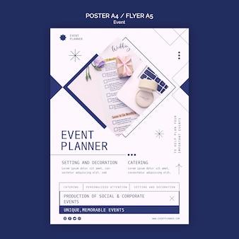 Modelo de pôster vertical para planejamento de eventos sociais e corporativos