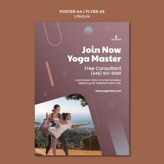 Modelo de pôster vertical para prática e exercícios de ioga
