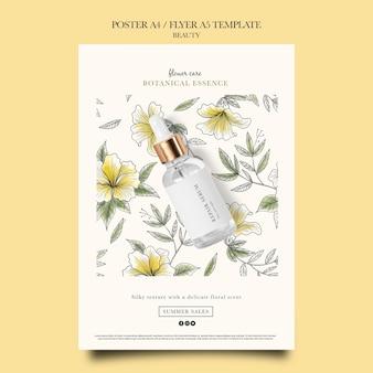 Modelo de pôster vertical para produtos de beleza com flores desenhadas à mão