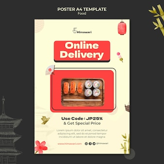 Modelo de pôster vertical para restaurante de comida japonesa