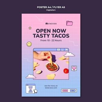 Modelo de pôster vertical para restaurante de comida mexicana