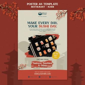 Modelo de pôster vertical para restaurante de sushi