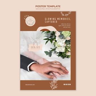Modelo de pôster vertical para serviço de fotografia de casamento