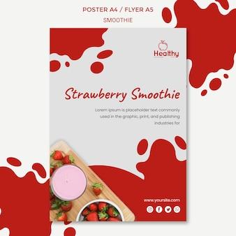 Modelo de pôster vertical para smoothies de frutas saudáveis