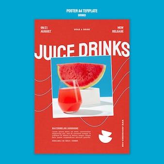 Modelo de pôster vertical para suco de fruta saudável