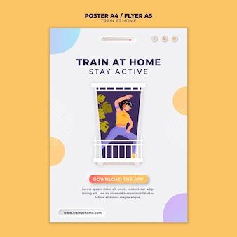 Modelo de pôster vertical para treinamento físico em casa