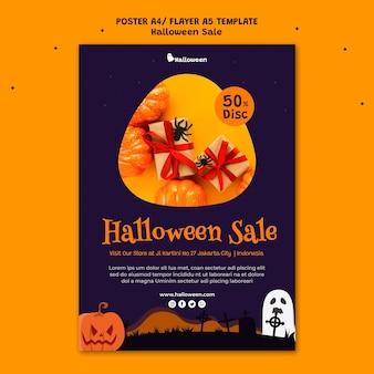 Modelo de pôster vertical para venda de halloween