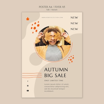 Modelo de pôster vertical para venda de outono