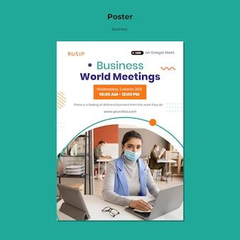 Modelo de pôster vertical para webinar e início de negócios