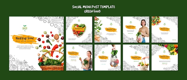 Modelo de posts de mídia social de comida saudável com foto