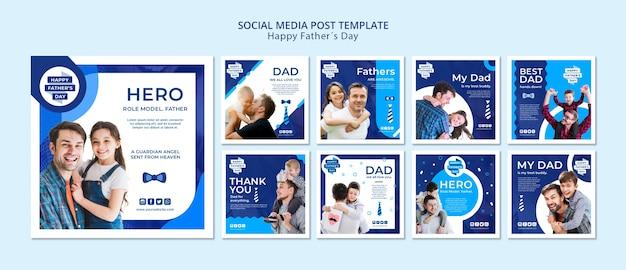 Modelo de posts de mídia social do dia dos pais modernos