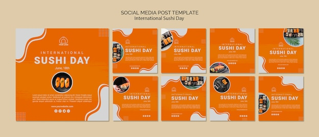 Modelo de posts de mídia social do dia internacional do sushi