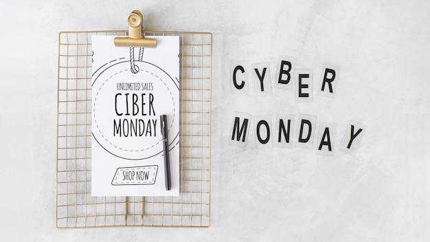 Modelo de prancheta com letras de segunda-feira cyber