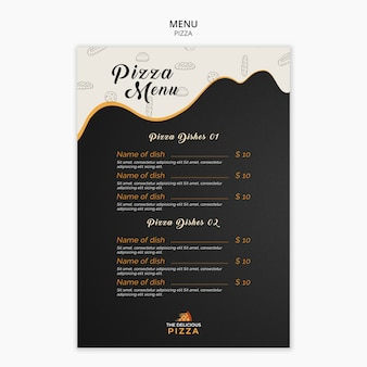 Modelo de pratos de pizza de menu