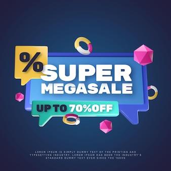 Modelo de promoção de crachá de desconto em super mega venda 3d