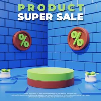 Modelo de promoção de desconto de venda, pódio vazio