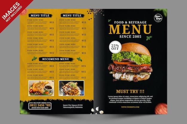 Modelo de promoção de menu de comida de restaurante escuro e amarelo bifold psd premium psd