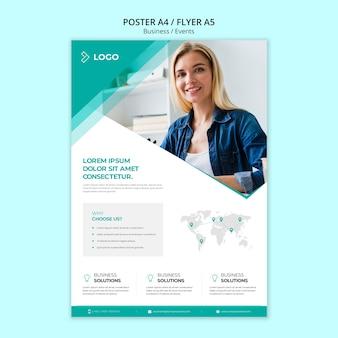 Modelo de promoção de negócios com poster