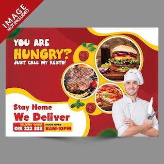 Modelo de promoção de panfleto de entrega de comida