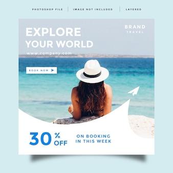 Modelo de promoção de postagem de feed de mídia social de viagens