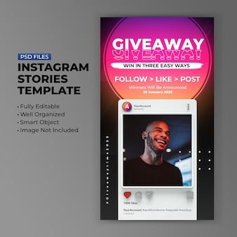 Modelo de promoção de sorteio retro 3d minimalista do instagram