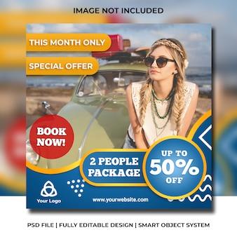 Modelo de promoção de viagens de mídia social instagram