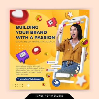 Modelo de promoção instagram de mídia social conceito criativo de agência de marketing digital