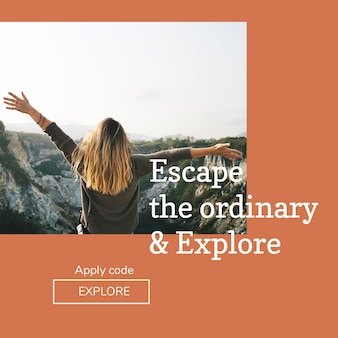 Modelo de psd de aventura ao ar livre para postagem em mídia social
