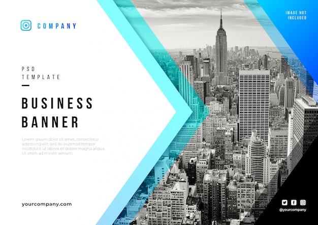 Modelo de psd de banner de negócios abstratos