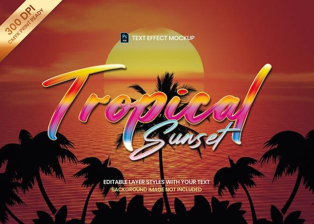 Modelo de psd de efeito de texto colorido tropical estilo logotipo.