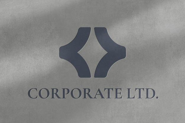 Modelo de psd de logotipo de negócios corporativo ltd em textura de papel gravado