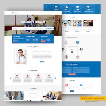 Modelo de psd de página de destino de clínica e assistência médica