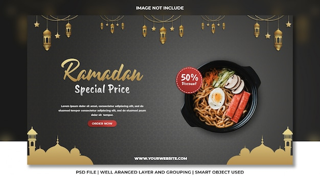 Modelo de psd de ramadan promocional especial fast food macarrão