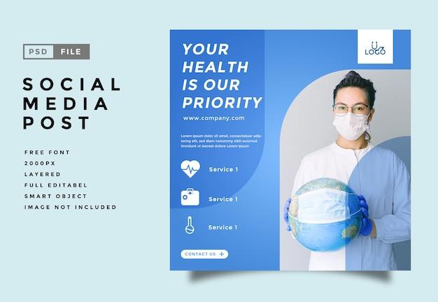 Modelo de publicação de feed de mídia social médica e de saúde